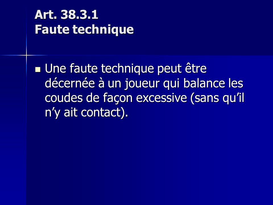 Art. 38.3.1 Faute technique Une faute technique peut être décernée à un joueur qui balance les coudes de façon excessive (sans quil ny ait contact). U