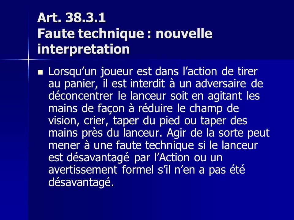 Art. 38.3.1 Faute technique : nouvelle interpretation Lorsquun joueur est dans laction de tirer au panier, il est interdit à un adversaire de déconcen