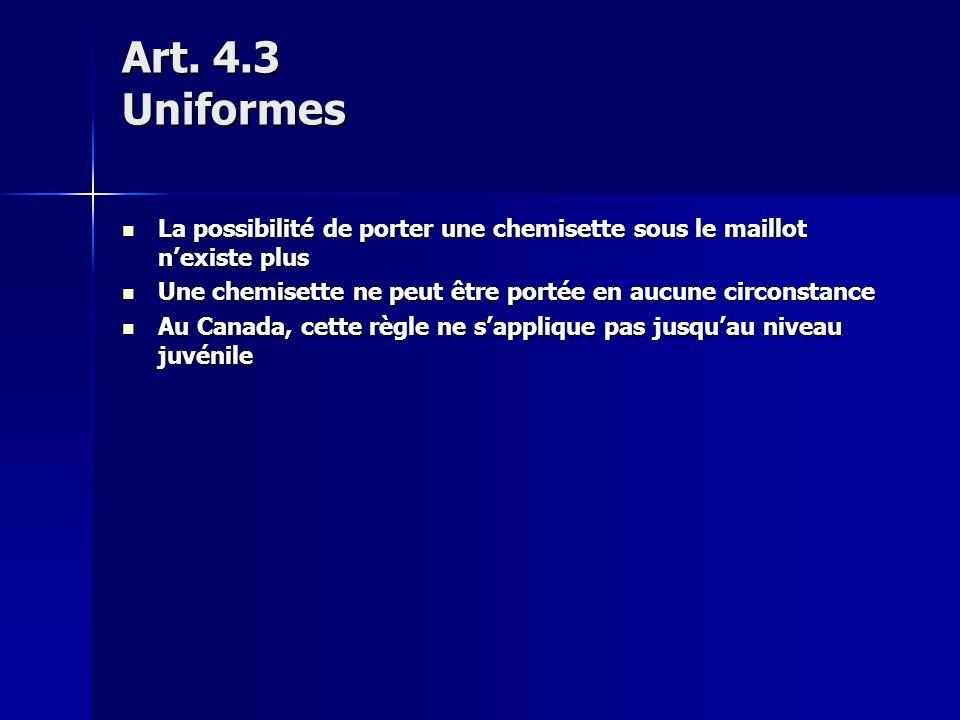 Art. 4.3 Uniformes La possibilité de porter une chemisette sous le maillot nexiste plus La possibilité de porter une chemisette sous le maillot nexist