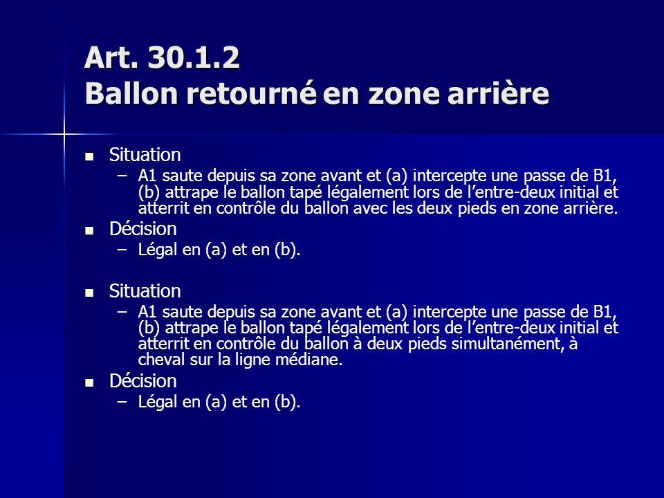 Art. 30.1.2 Ballon retourné en zone arrière Situation – –A1 saute depuis sa zone avant et (a) intercepte une passe de B1, (b) attrape le ballon tapé l