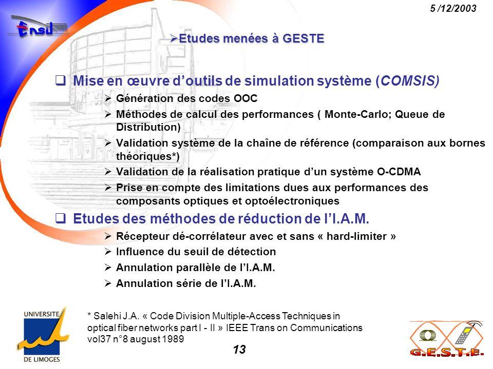 13 5 /12/2003 Etudes menées à GESTE Etudes menées à GESTE Mise en œuvre doutils de simulation système (COMSIS) Génération des codes OOC Méthodes de ca