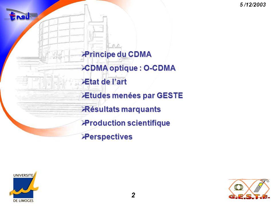 2 5 /12/2003 Principe du CDMA Principe du CDMA CDMA optique : O-CDMA CDMA optique : O-CDMA Etat de lart Etat de lart Etudes menées par GESTE Etudes me