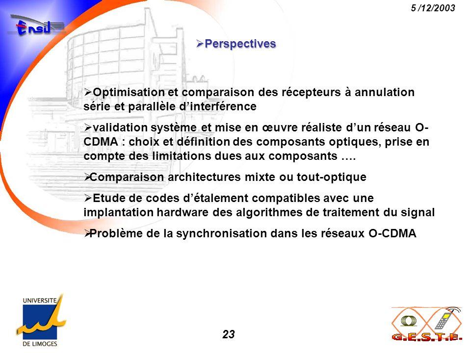 23 5 /12/2003 Perspectives Perspectives Optimisation et comparaison des récepteurs à annulation série et parallèle dinterférence validation système et