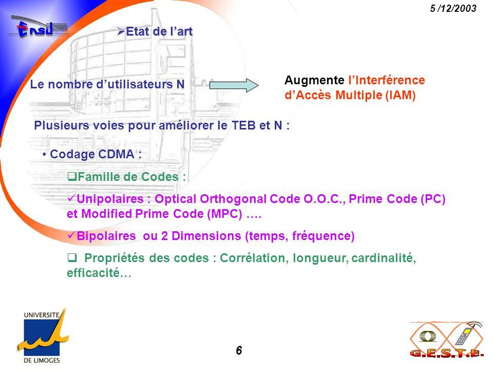 6 5 /12/2003 Etat de lart Etat de lart Le nombre dutilisateurs N Augmente lInterférence dAccès Multiple (IAM) Plusieurs voies pour améliorer le TEB et