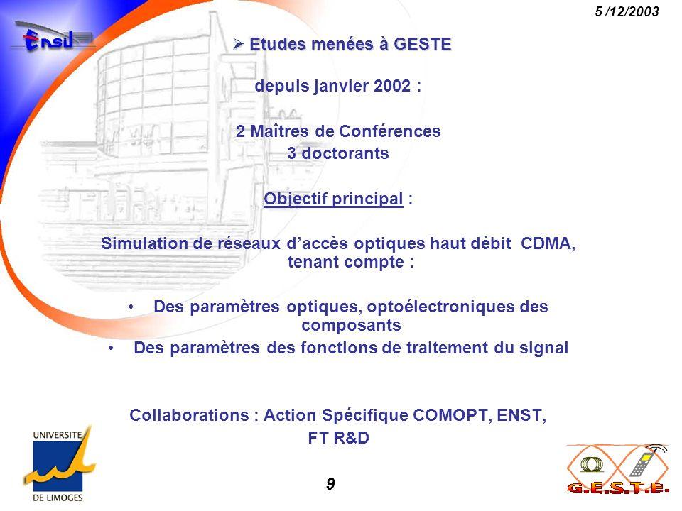 10 5 /12/2003 Etudes menées à GESTE Etudes menées à GESTE Chaîne de référence: DS – CDMA synchrone Modulation O.O.K.