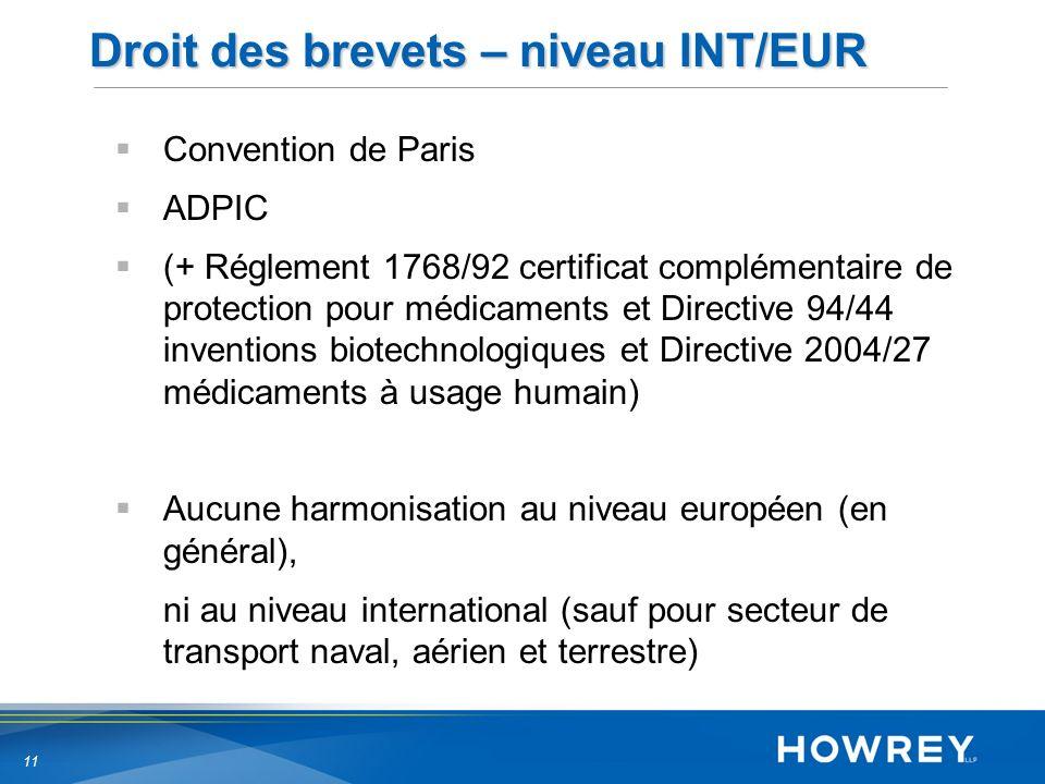 11 Droit des brevets – niveau INT/EUR Convention de Paris ADPIC (+ Réglement 1768/92 certificat complémentaire de protection pour médicaments et Directive 94/44 inventions biotechnologiques et Directive 2004/27 médicaments à usage humain) Aucune harmonisation au niveau européen (en général), ni au niveau international (sauf pour secteur de transport naval, aérien et terrestre)