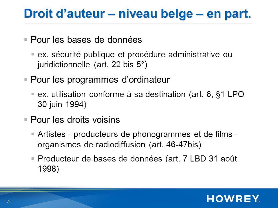 8 Droit dauteur – niveau belge – en part. Pour les bases de données ex.