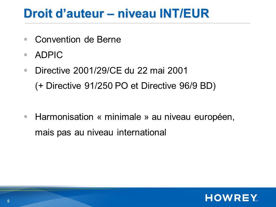 9 Droit dauteur – niveau INT/EUR Convention de Berne ADPIC Directive 2001/29/CE du 22 mai 2001 (+ Directive 91/250 PO et Directive 96/9 BD) Harmonisation « minimale » au niveau européen, mais pas au niveau international