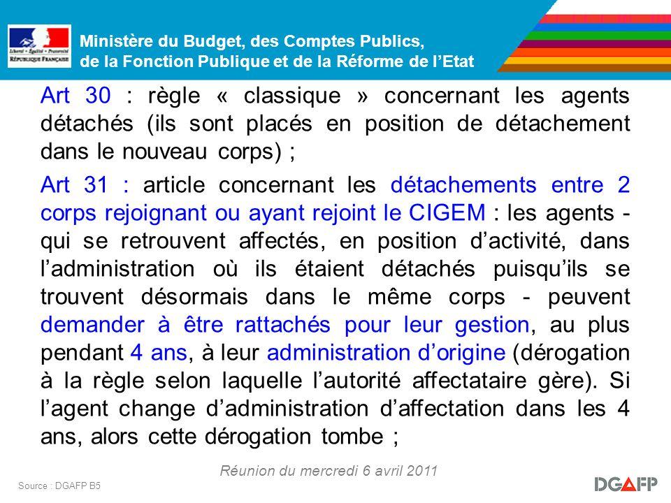 Ministère du Budget, des Comptes Publics, de la Fonction Publique et de la Réforme de lEtat Réunion du mercredi 6 avril 2011 Source : DGAFP B5 Art 30