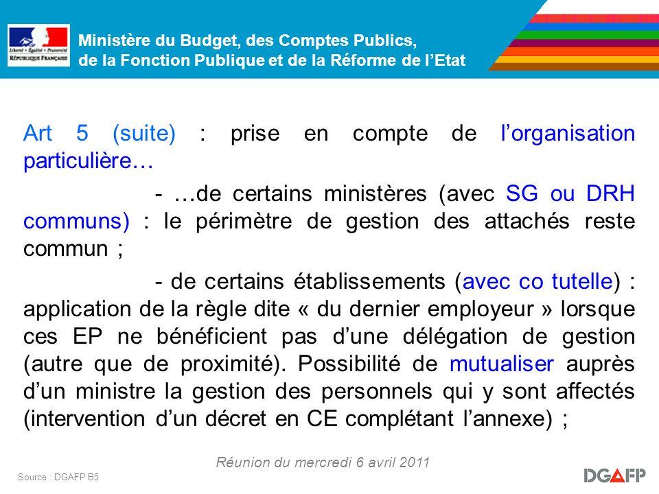 Ministère du Budget, des Comptes Publics, de la Fonction Publique et de la Réforme de lEtat Réunion du mercredi 6 avril 2011 Source : DGAFP B5 Art 5 (