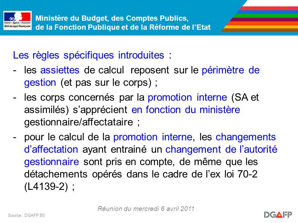 Ministère du Budget, des Comptes Publics, de la Fonction Publique et de la Réforme de lEtat Réunion du mercredi 6 avril 2011 Source : DGAFP B5 Les règ