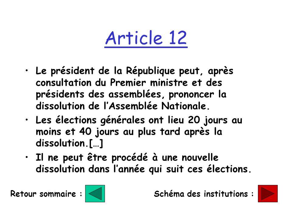 Article 12 Le président de la République peut, après consultation du Premier ministre et des présidents des assemblées, prononcer la dissolution de lAssemblée Nationale.