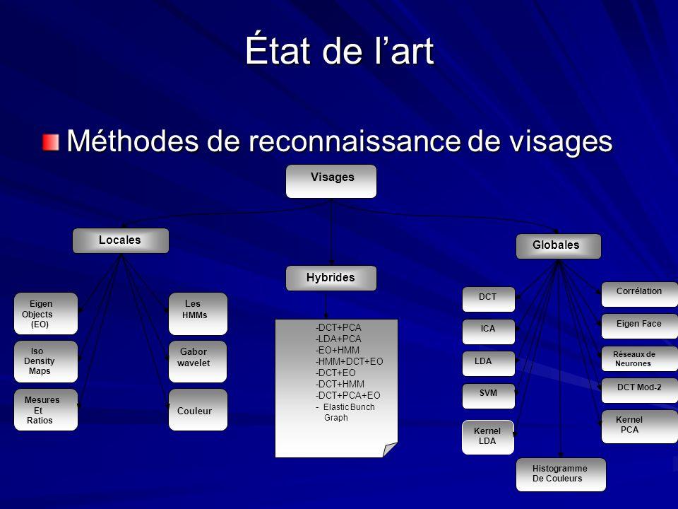 État de lart Méthodes de reconnaissance de visages Visages Globales Hybrides Locales Les HMMs Iso Density Maps Mesures Et Ratios Eigen Objects (EO) Co