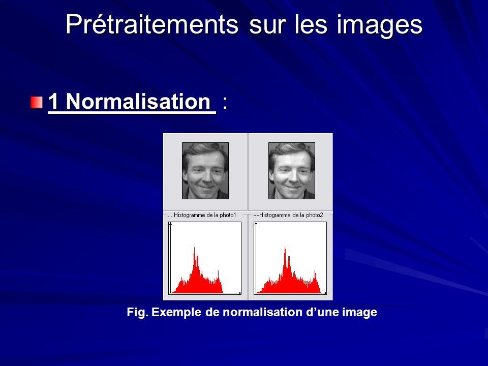 Prétraitements sur les images 1 Normalisation : Fig. Exemple de normalisation dune image