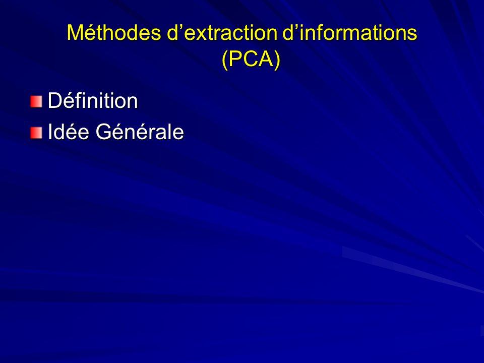 Méthodes dextraction dinformations (PCA) Définition Idée Générale