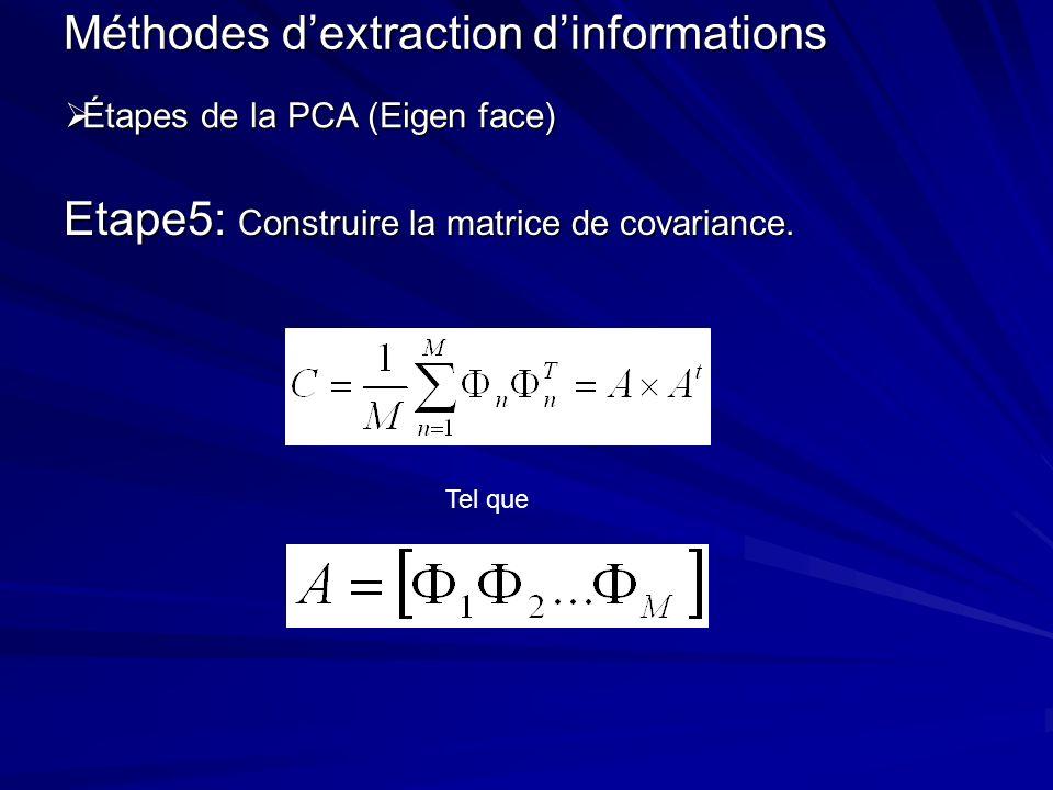 Etape5: Construire la matrice de covariance. Méthodes dextraction dinformations Étapes de la PCA (Eigen face) Étapes de la PCA (Eigen face) Tel que