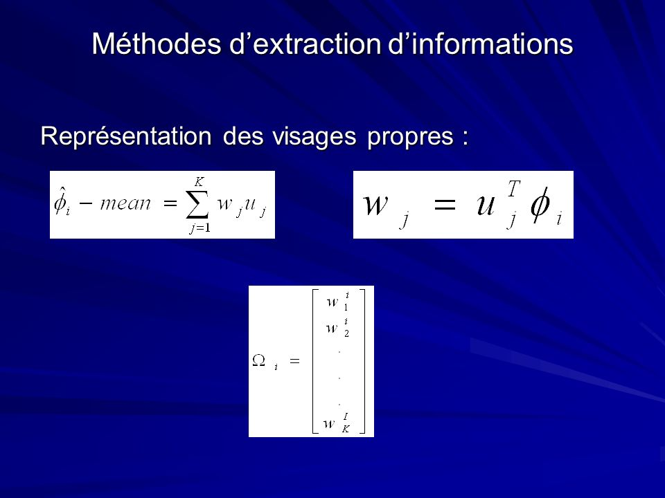 Méthodes dextraction dinformations Représentation des visages propres :