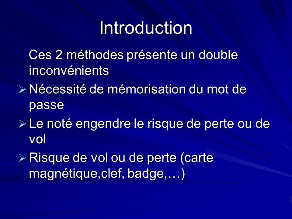 Introduction Ces 2 méthodes présente un double inconvénients Ces 2 méthodes présente un double inconvénients Nécessité de mémorisation du mot de passe