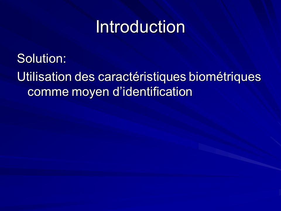 Introduction Solution: Utilisation des caractéristiques biométriques comme moyen didentification