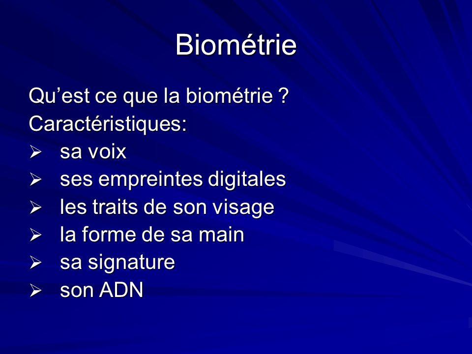 Biométrie Quest ce que la biométrie ? Caractéristiques: sa voix sa voix ses empreintes digitales ses empreintes digitales les traits de son visage les