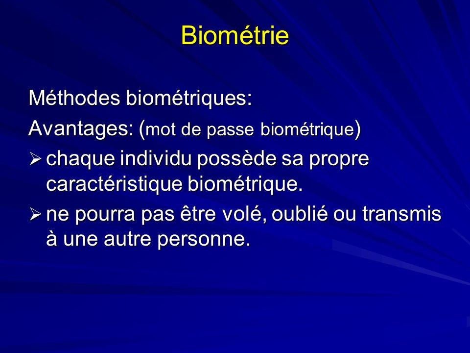 Biométrie Méthodes biométriques: Avantages: ( mot de passe biométrique ) chaque individu possède sa propre caractéristique biométrique. chaque individ
