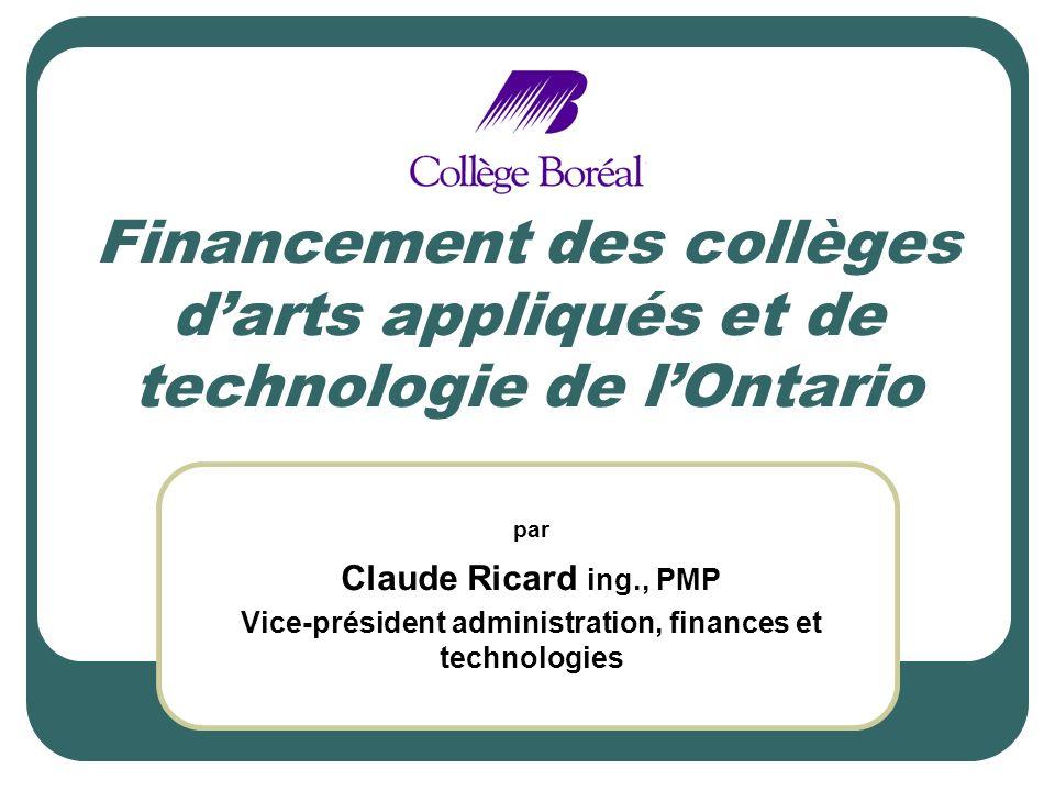 Financement des collèges darts appliqués et de technologie de lOntario par Claude Ricard ing., PMP Vice-président administration, finances et technologies