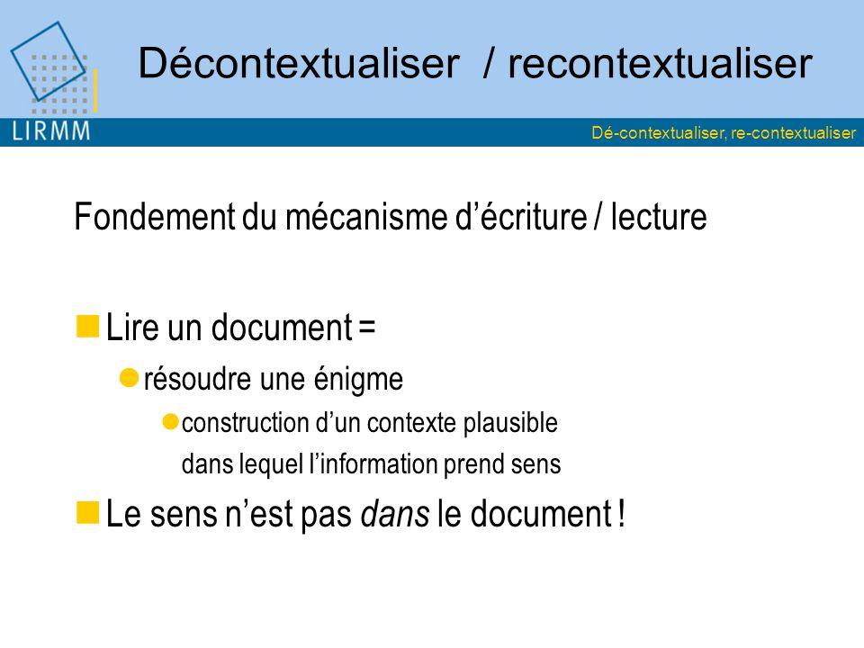 Décontextualiser / recontextualiser Fondement du mécanisme décriture / lecture Lire un document = résoudre une énigme construction dun contexte plausible dans lequel linformation prend sens Le sens nest pas dans le document .
