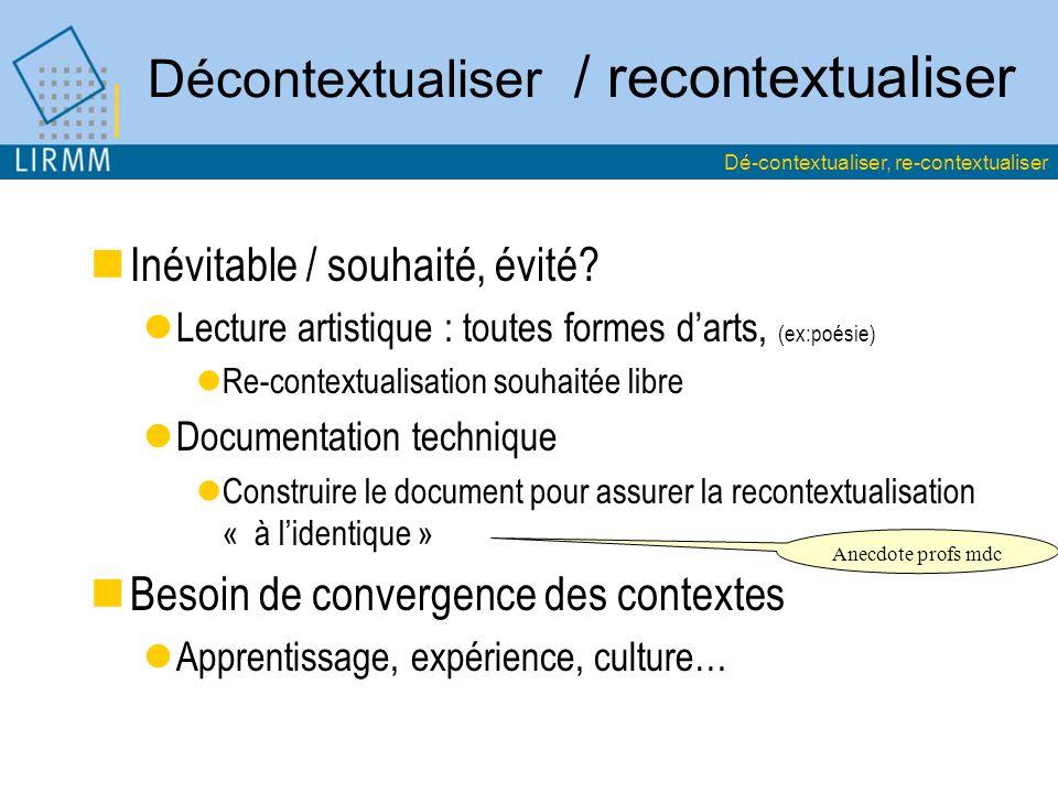 Décontextualiser / recontextualiser Inévitable / souhaité, évité? Lecture artistique : toutes formes darts, (ex:poésie) Re-contextualisation souhaitée