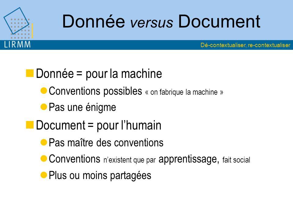Donnée versus Document Donnée = pour la machine Conventions possibles « on fabrique la machine » Pas une énigme Document = pour lhumain Pas maître des conventions Conventions nexistent que par apprentissage, fait social Plus ou moins partagées Dé-contextualiser, re-contextualiser