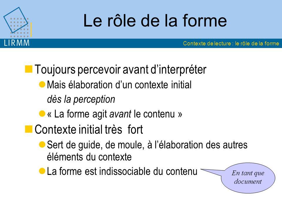 Le rôle de la forme Toujours percevoir avant dinterpréter Mais élaboration dun contexte initial dès la perception « La forme agit avant le contenu » C