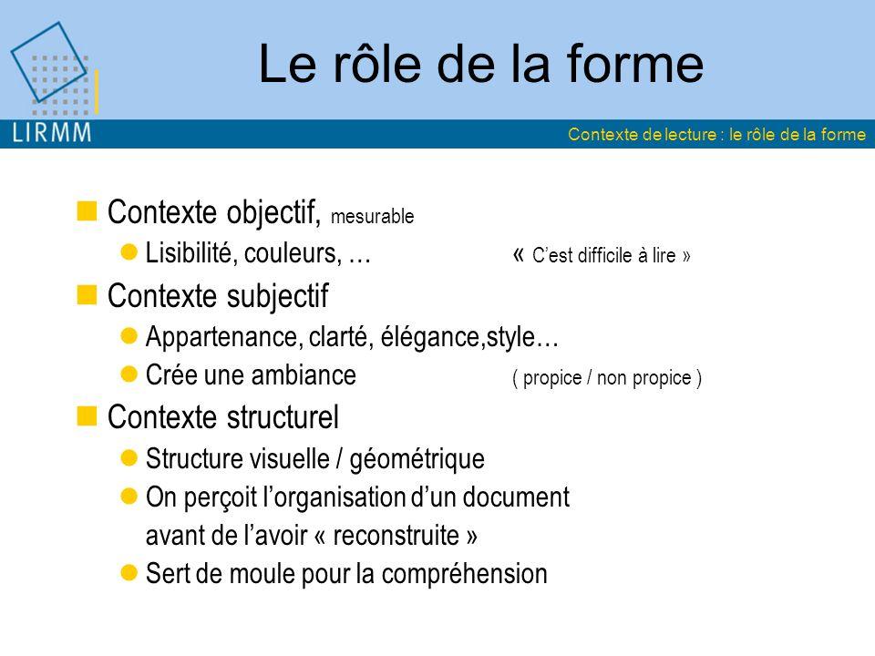 Le rôle de la forme Contexte objectif, mesurable Lisibilité, couleurs, …« Cest difficile à lire » Contexte subjectif Appartenance, clarté, élégance,st