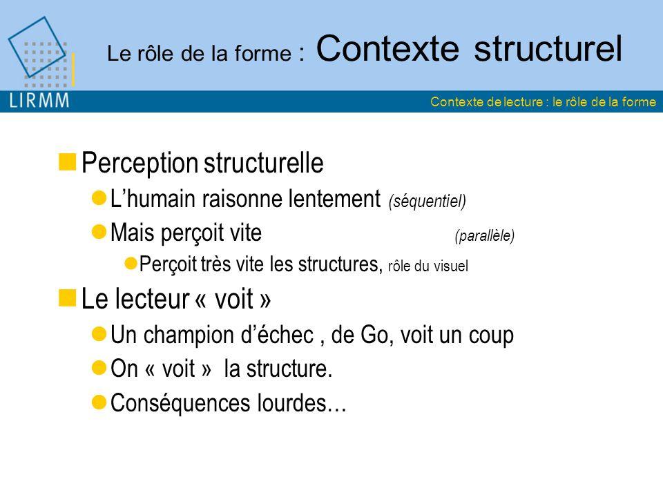 Le rôle de la forme : Contexte structurel Perception structurelle Lhumain raisonne lentement (séquentiel) Mais perçoit vite (parallèle) Perçoit très vite les structures, rôle du visuel Le lecteur « voit » Un champion déchec, de Go, voit un coup On « voit » la structure.