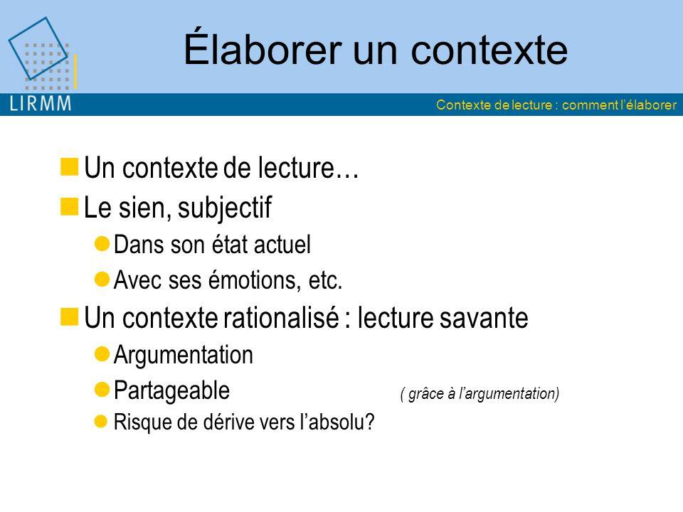 Élaborer un contexte Un contexte de lecture… Le sien, subjectif Dans son état actuel Avec ses émotions, etc.