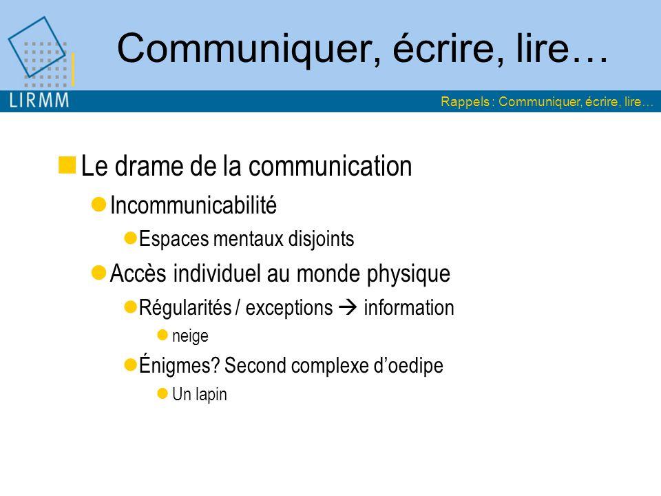 Communiquer, écrire, lire… Le drame de la communication Incommunicabilité Espaces mentaux disjoints Accès individuel au monde physique Régularités / e