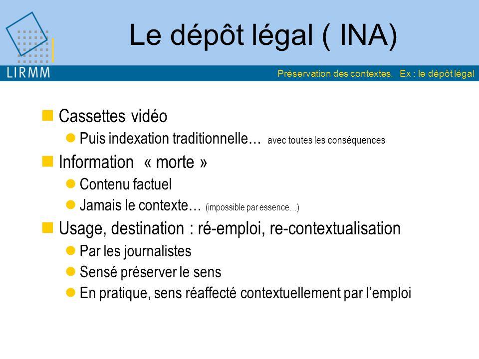 Le dépôt légal ( INA) Cassettes vidéo Puis indexation traditionnelle… avec toutes les conséquences Information « morte » Contenu factuel Jamais le con