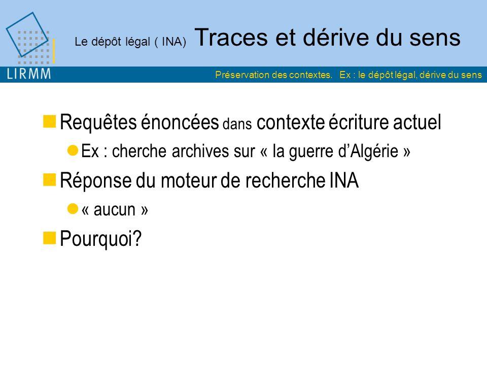 Le dépôt légal ( INA) Traces et dérive du sens Requêtes énoncées dans contexte écriture actuel Ex : cherche archives sur « la guerre dAlgérie » Réponse du moteur de recherche INA « aucun » Pourquoi.