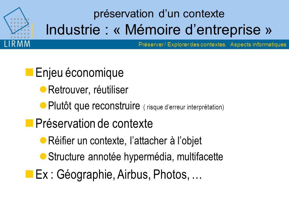 préservation dun contexte Industrie : « Mémoire dentreprise » Enjeu économique Retrouver, réutiliser Plutôt que reconstruire ( risque derreur interpré