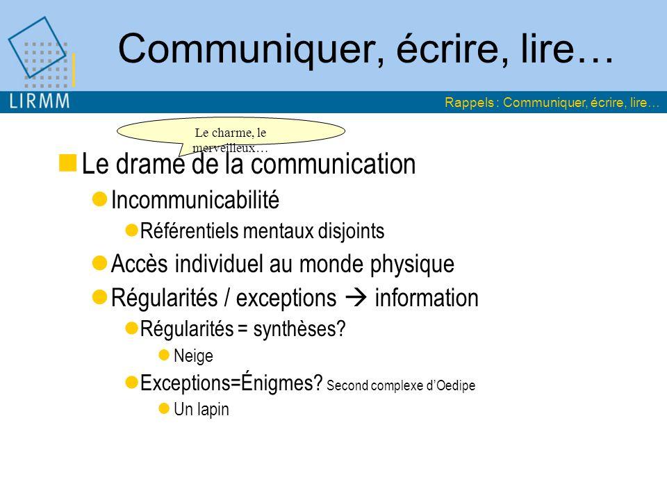 Communiquer, écrire, lire… Le drame de la communication Incommunicabilité Référentiels mentaux disjoints Accès individuel au monde physique Régularité