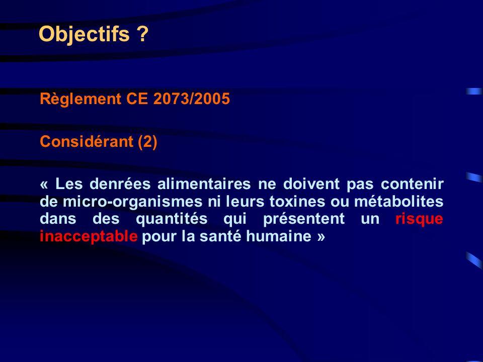 Objectifs ? Règlement CE 2073/2005 Considérant (2) « Les denrées alimentaires ne doivent pas contenir de micro-organismes ni leurs toxines ou métaboli