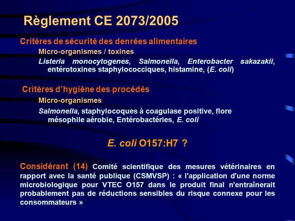 Règlement CE 2073/2005 Considérant (14) CSMVSP : « Néanmoins, des orientations microbiologiques destinées à réduire la contamination fécale dans la chaîne alimentaire peuvent contribuer à réduire les risques pour la santé publique, y compris ceux liés à VTEC » Catégories de DA dans lesquelles VTEC présente un risque pour la SP : Viandes crues ou peu cuites de boeuf et éventuellement d autres ruminants, des viandes hachées, de la viande de boeuf fermentée et des produits à base de viande de bœuf fermentée = Entérobactéries, E.