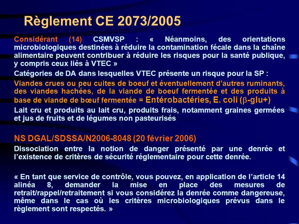 Règlement CE 2073/2005 Considérant (14) CSMVSP : « Néanmoins, des orientations microbiologiques destinées à réduire la contamination fécale dans la ch