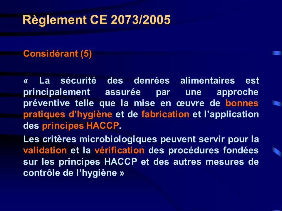 Règlement CE 2073/2005 Considérant (5) « La sécurité des denrées alimentaires est principalement assurée par une approche préventive telle que la mise