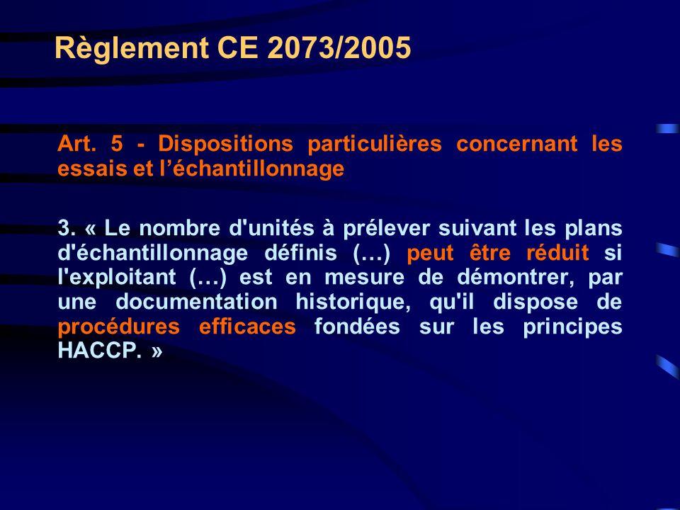 Règlement CE 2073/2005 Art. 5 - Dispositions particulières concernant les essais et léchantillonnage 3. « Le nombre d'unités à prélever suivant les pl