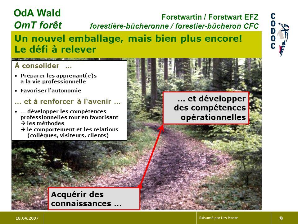 18.04.2007 Résumé par Urs Moser 9 OdA Wald OmT forêt Forstwartin / Forstwart EFZ forestière-bûcheronne / forestier-bûcheron CFC Un nouvel emballage, mais bien plus encore.