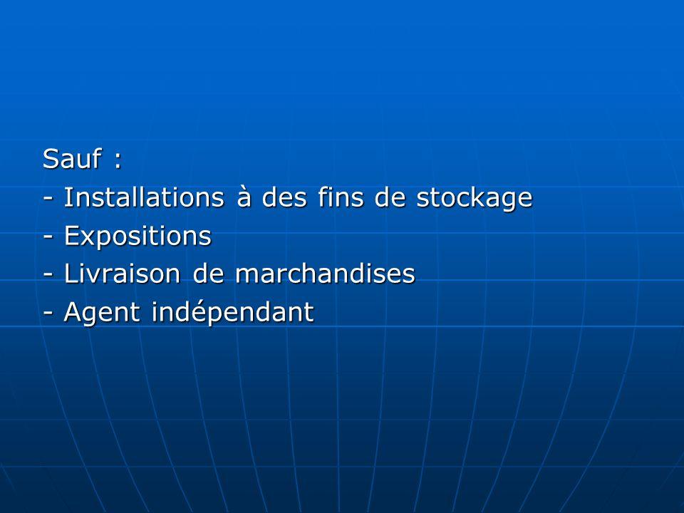 Sauf : - Installations à des fins de stockage - Expositions - Livraison de marchandises - Agent indépendant