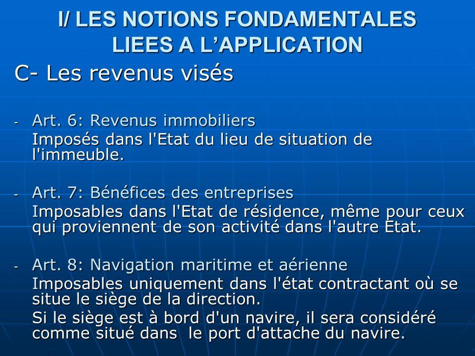 I/ LES NOTIONS FONDAMENTALES LIEES A LAPPLICATION C- Les revenus visés - Art. 6: Revenus immobiliers Imposés dans l'Etat du lieu de situation de l'imm