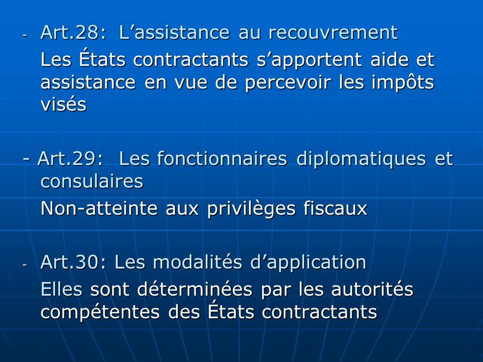 - Art.28:Lassistance au recouvrement Les États contractants sapportent aide et assistance en vue de percevoir les impôts visés - Art.29: Les fonctionn