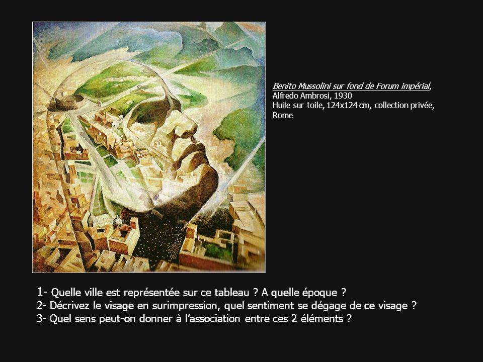 Benito Mussolini sur fond de Forum impérial, Alfredo Ambrosi, 1930 Huile sur toile, 124x124 cm, collection privée, Rome 1- Quelle ville est représenté