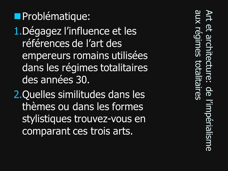 Art et architecture: de limpérialisme aux régimes totalitaires Problématique: Problématique: 1.Dégagez linfluence et les références de lart des empere