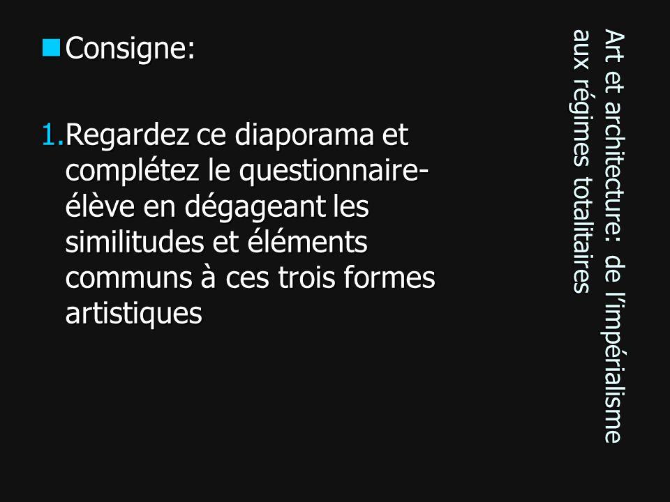 Art et architecture: de limpérialisme aux régimes totalitaires Consigne: Consigne: 1.Regardez ce diaporama et complétez le questionnaire- élève en dég
